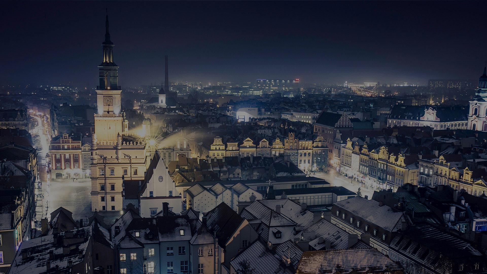 Poznań nocą. Inmarketing