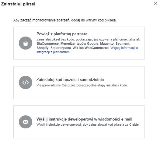 Błędy w kampaniach reklamowych na Facebooku - instalacja piksela (screen)