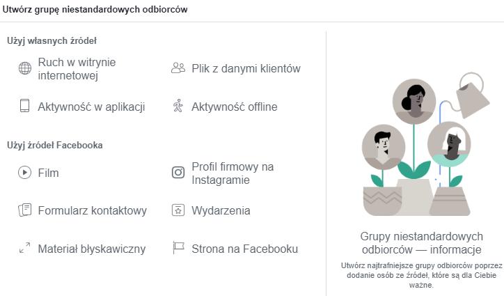 Błędy w kampaniach reklamowych na Facebooku - grupy odbiorców (screen)