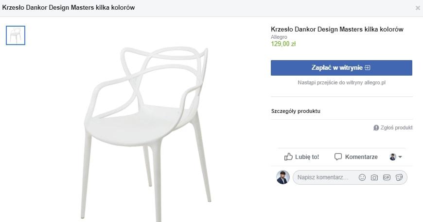 Zakupy bezpośrednio na fb. Inmarketing