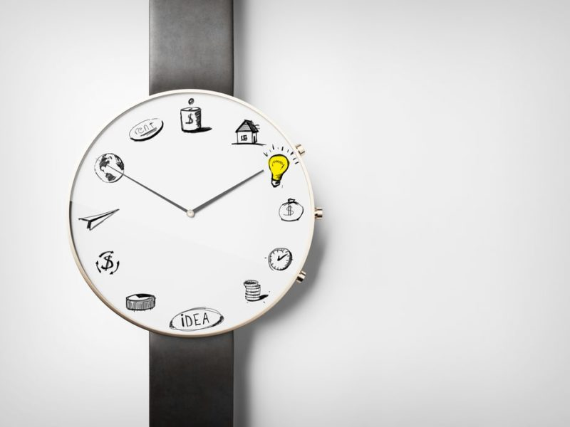 Zegar z ikonkami zamiast cyfr. Inmarketing