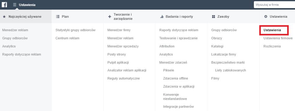 Faktury z facebooka - krok 1 - ustawienia  (screen)