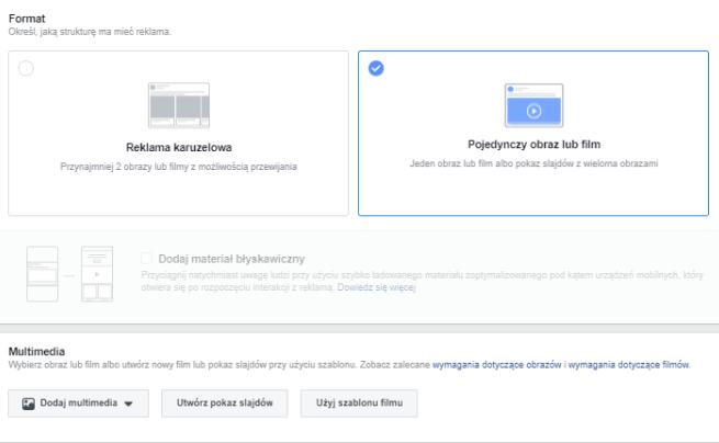 reklama na facebooku - formaty