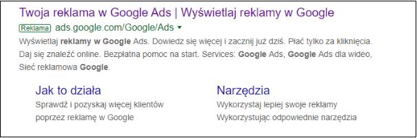 reklama google ads - przykład