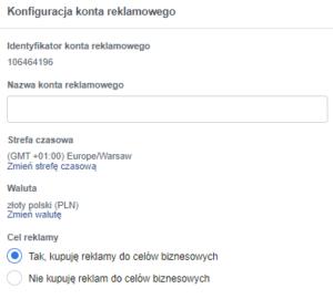 Faktura facebook ads - konfiguracja konta reklamowego (screen)