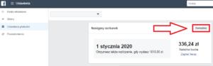 """Faktura facebook ads - opcja """"zarządzaj"""" - screen"""