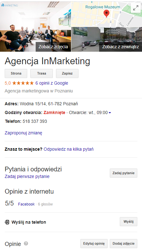 Google moja firma - Agencja InMarketing