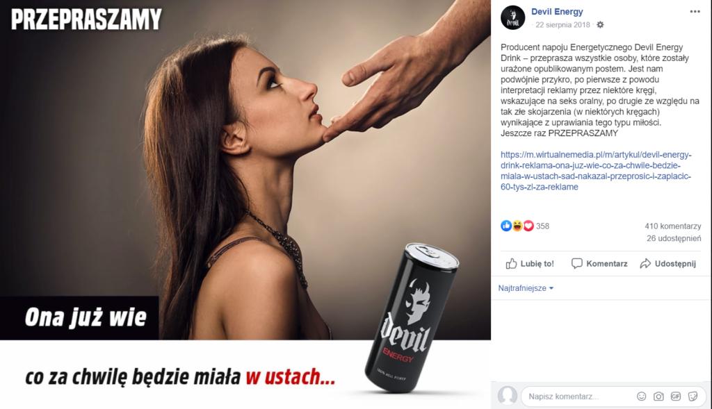 Social media - przeprosiny Devil Energy (screen)