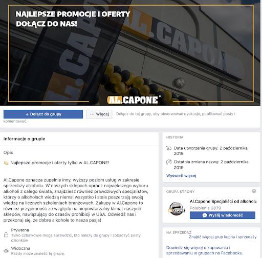 Facebook strona sklepu z alkoholami