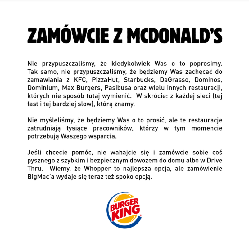 podsumowanie roku - akcja w social mediach Burger Kinga