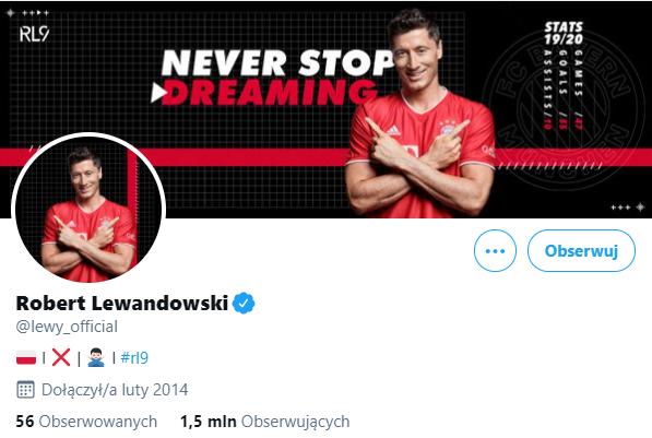 Twitter - najpopularniejsze Polskie konto - Robert Lewandowski (screen)