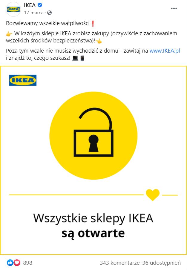 Posty na Facebooka Ikea
