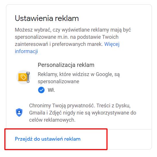 ustawienia reklam google
